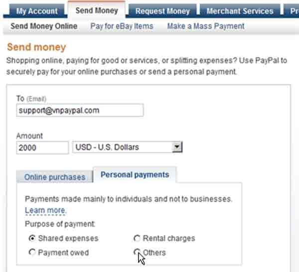 Thông tin chyển tiền Paypal