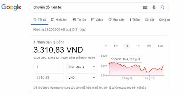 Chuyển đổi tiền Trung Quốc bằng Google